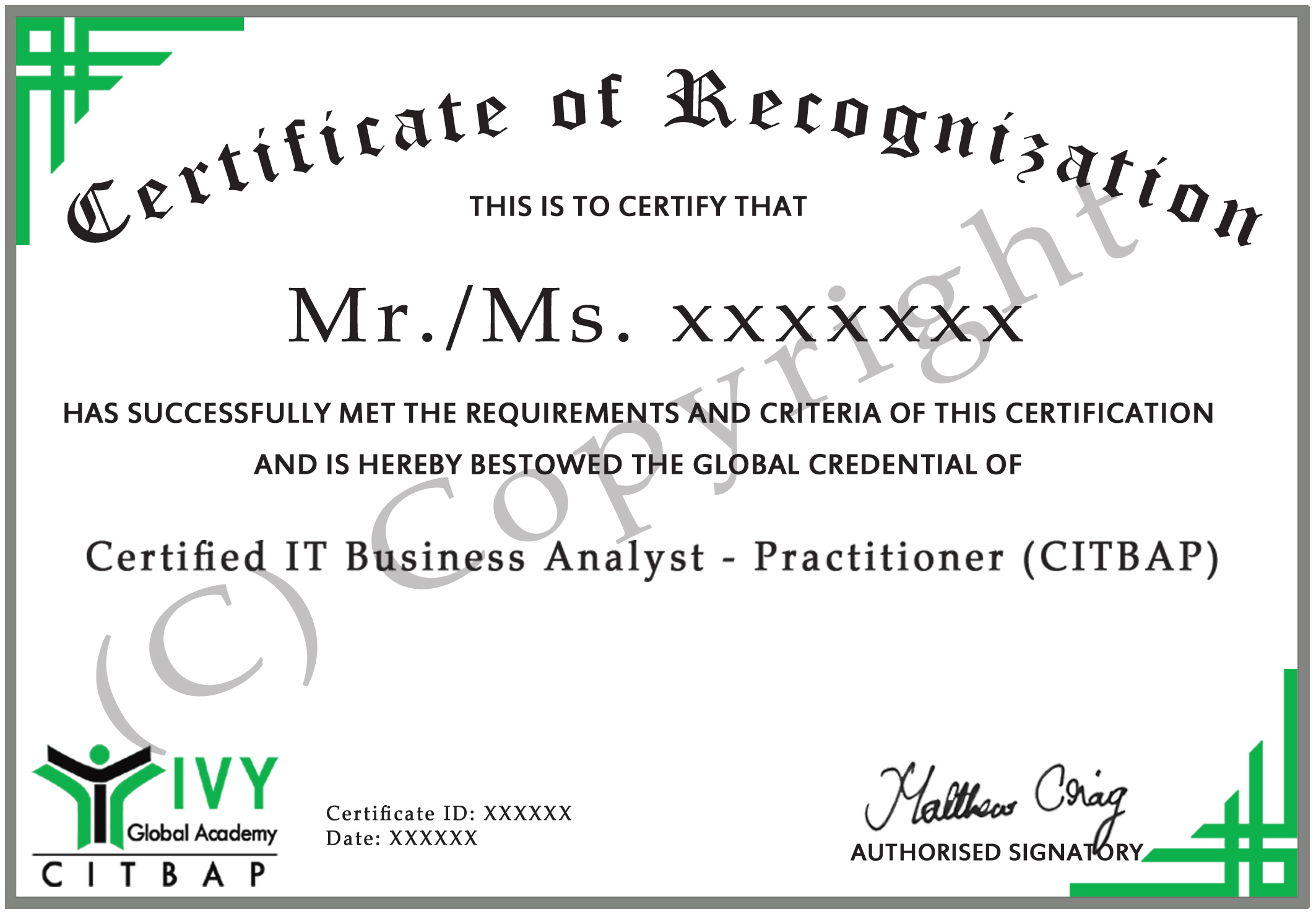 Certified IT Business Analyst Practitioner CITBAP - Business analyst documents